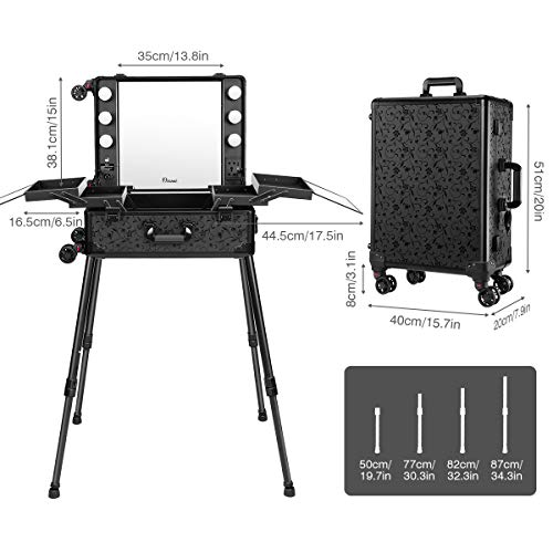 Ovonni Makeup Train Case, Lighted Rolling Travel Portable Cosmetic Organizer Box with Mirror & 4 Detachable Wheels, Professional Artist Trolley Studio Free Standing Workstation, Pattern Black by Ovonni (Image #4)