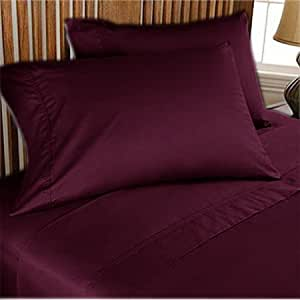 """500 TC ULTRA SOFT SILKY 100% EGYPTIAN COTTON 4 PIECE LUXURIOUS SHEET SET WITH 24"""" EXTRA DEEP POCKET SHORT QUEEN WINE SOLID BY PEARLBEDDING"""