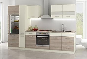 Küche Cindy 300 Küchenzeile / Küchenblock variabel stellbar Creme+ ...