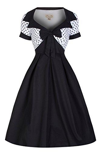 Lindy Bop 'Delilah' Vintage 50's Polka Dot Bow Trim Fit N Flare Dress (3XL, Black)