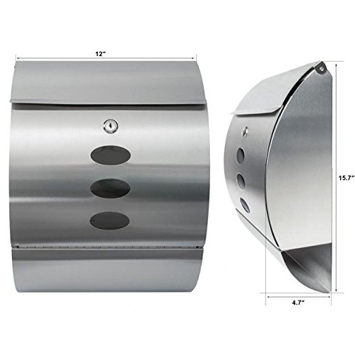 New Modern Stainless Steel Wall Mount Mail Box Letter Bills Magazine Mailbox with Retrieval Door, Newspaper Roll, and 2 keys Post Box Security Heavy Gibraltar