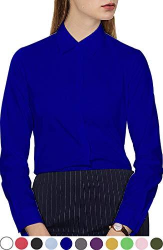 Button Cuff Pants - diig Women Dress Shirt Blue Size 18