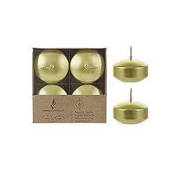 Mega Candles 12 pcs Unscented Gold Floating Disc C