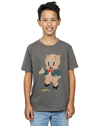 Looney Tunes Boys Porky Pig Distressed T-Shirt Charcoal 9-11 Years