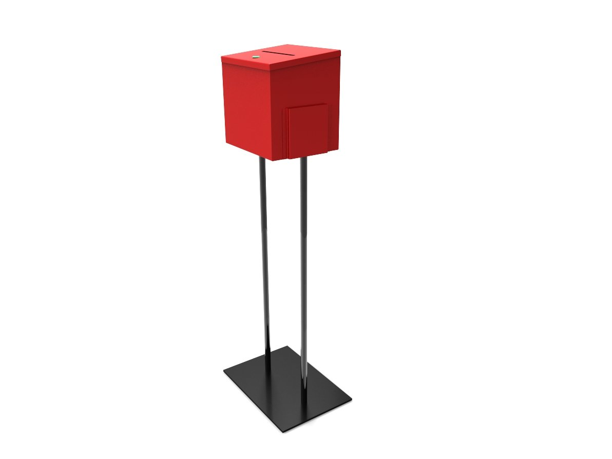 Fixture Displays Red Metal Ballot Box Donation Box Suggestion Box With Black Stand 11064+10918-RED!