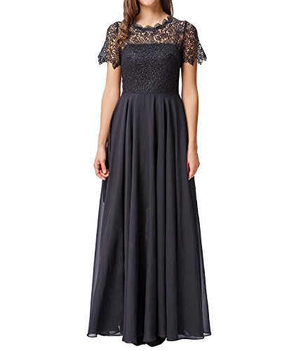 Kate Kasin Women's Vintage Style Chiffon Lace Long Dress with Sleeves Black Size 10