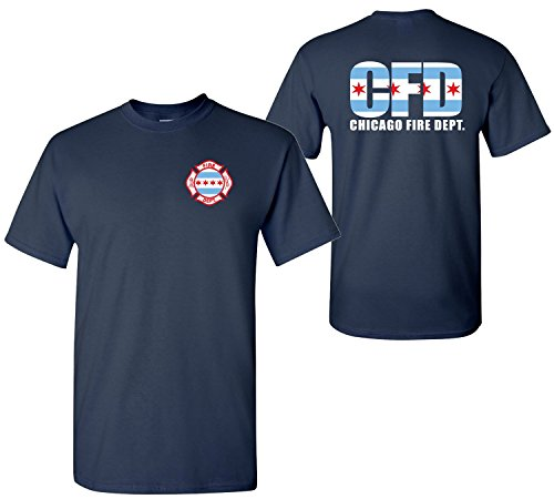 Chicago Fire Department Maltese Cross w/Chicago Flag 2-Sided T-shirt (Medium)