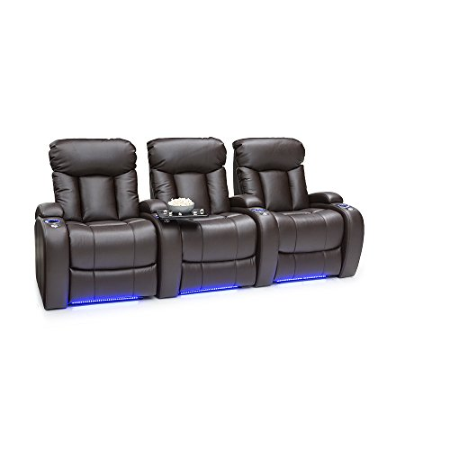 Seatcraft Orleans Home Theater Seating Manual Recline Leather Gel (Row of 3, Brown) by SEATCRAFT