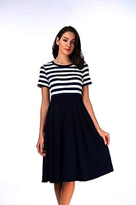 Carterstory Women's Vintage Stripe Scoop Neck Short Sleeve Swing Dress