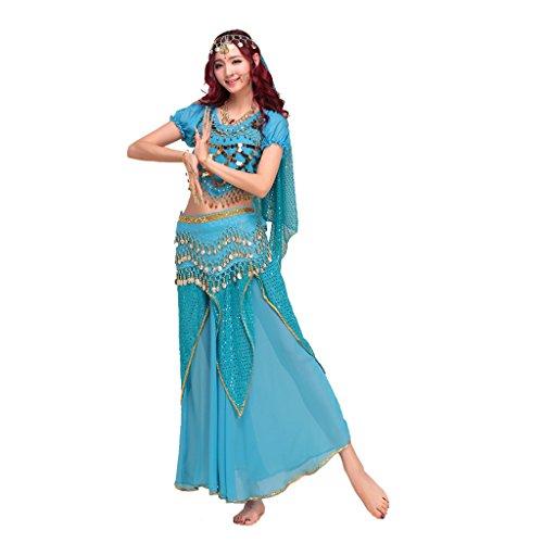 Pilot-trade lady's Belly Dance Costume Indian Dance Shiny Bells Top Highlights Skirt Light Blue