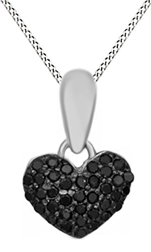Jewel Zone US Black Natural Diamond Puffed Heart Pendant Necklace in 14K White Gold Over Sterling Silver (1/8 Ct)