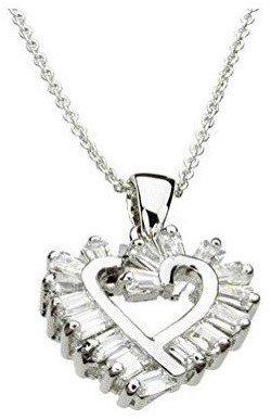 Baguette Heart Necklace - Baguette Cubic Zirconia Heart Sterling Silver Pendant Cable Chain Necklace 18