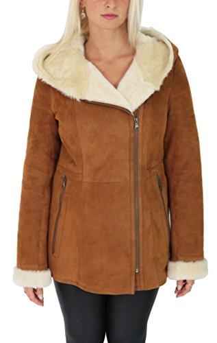 Sheepskin Women For Jackets (Ladies Sheepskin Coat Hooded Hip Length Shearling Zip Jacket Ellen Tan (Large))