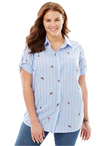 Woman Within Plus Size Button-Tab Short Sleeve Button-Down Seersucker Shirt - Watermelon Embroidery, ()