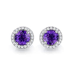 Gold Natural Diamond Purple Amethyst Earrings