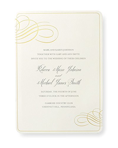 Print Your Own Invitations (Gold Foil Border Print at Home Wedding Invitation)