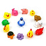 AUCH Cartoon Animal Style Soft Floating Squeaky Rubber Bath Toys - Pack Of 8