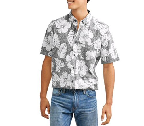 Men's Stretch Printed Woven Button Down Short Sleeve Shirt (Large 42/44, Black Floral)