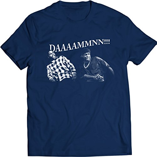 DDAAMMNN!! FUNNY Damn T Shirt Women Men Gift Idea Friday Movie Smokey and Craig Ice Cube Holiday Gift Birthday (XXL, Navy Blue) -