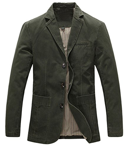 Chouyatou Men's Casual Three-Button Stripe Lined Cotton Twill Suit Jacket X-Large Army Green by Chouyatou