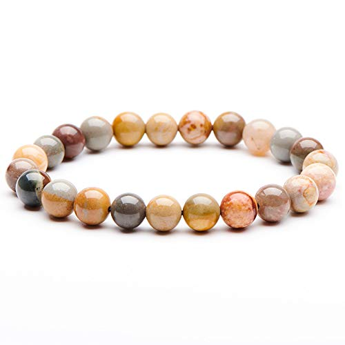 (Natural Gemstone Semi Precious Round Beads Bracelet 8mm Handmade Stretch Bracelet Unisex Jewelry (Ocean Stone C))