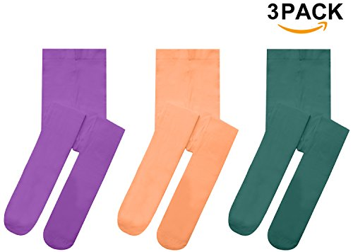 Girls Tights Microfiber Opaque Toddler Leggings Ballet Footed Dance Stockings For Big Girls Solid Color (Tights Colored Wear)