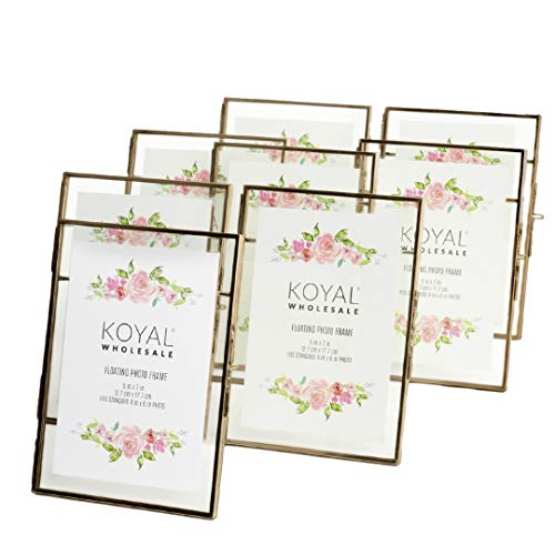 Koyal Wholesale Pressed Glass Floating Photo Frames 8-Pack with Stands for Horizontal or Vertical Pictures, Table Numbers, Place Cards (5 x 7, Antique Brass) (Wholesale Picture Frames)
