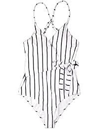 White Black Stripe One-Piece Swimsuit Beach Swimwear Bathing Suit
