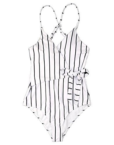 Fantastic Zone White Black Stripe One-Piece Swimsuit Beach Swimwear Bathing Suit S by Fantastic Zone