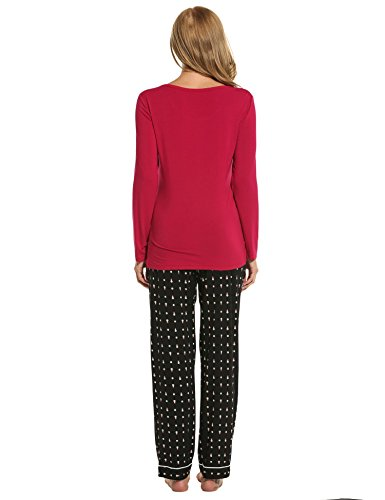 Teamyy Conjunto de Pijama casual de manga larga para mujer NEGRO