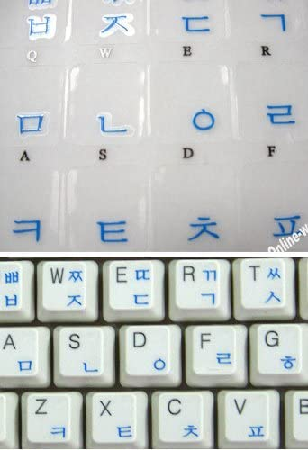Korean Transparent Label for Computer Keyboard with Blue Letters
