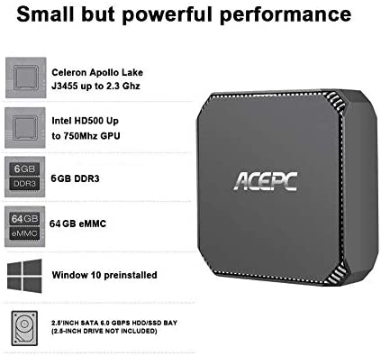 ACEPC AK2 Mini PC Intel Celeron J3455,Windows 10 Micro