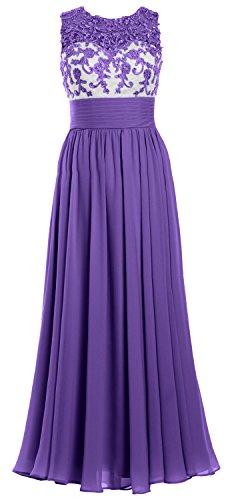MACloth Women Lace Chiffon Long Prom Dress Illusion Wedding Party Formal Gown Morado
