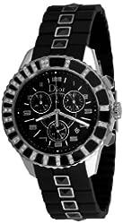 Christian Dior Women's CD11431ER001 Christal Chronograph Diamond Black Dial Watch