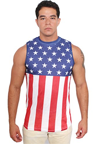 Confederate Flag Halloween Costume (USA Flag Men's Sleeveless Shirt Crew Neck Tank Top: XL)