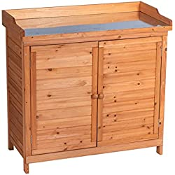 GOOD LIFE Outdoor Garden Patio Wooden Storage Cabinet Furniture Waterproof Tool Shed with Potting Benches Outdoor Work Station Table Nature Color LNG543