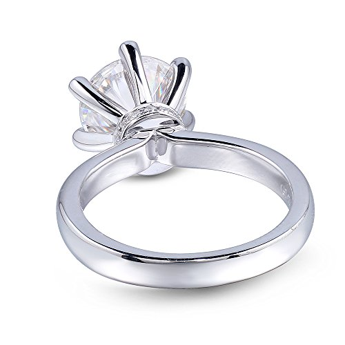 White gold, 3CTW Colorless (DE) Moissanite Wedding Ring with Natural Diamond Accent by TransGems (white-gold, 6)