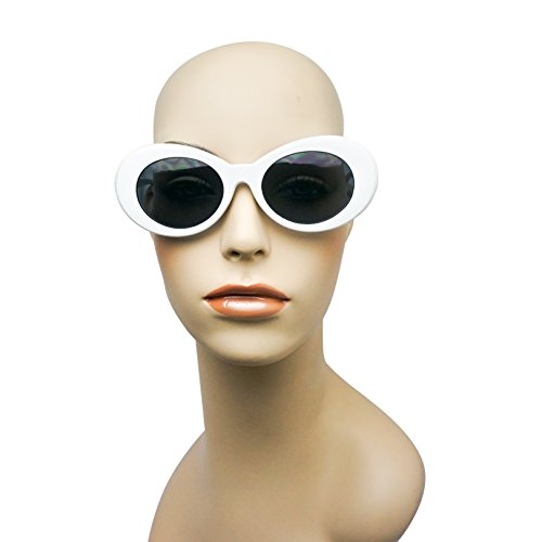 White Colorful Oval Clout Goggles Bold Retro Thick MOD 51mm Round Lens Sunglasses