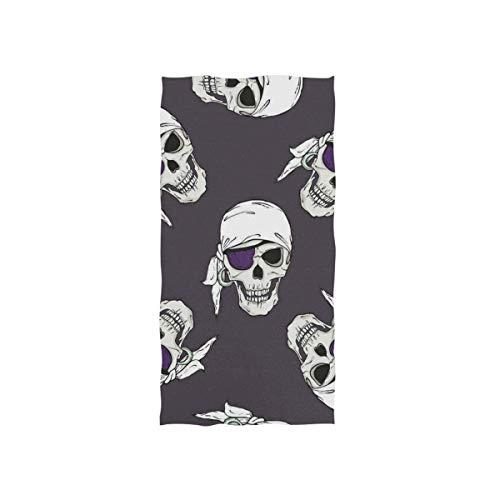 Love beautiful Purple Pirate Skull Hand Towels Ultra Soft Luxury Cotton Face Towel Washcloths for Home Kitchen Bathroom Spa Gym Swim Hotel Use (Kitchen Towel Portmerion)