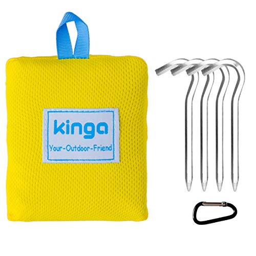 KINGA Camping Blanket Hiking Blanket Picnic Blanket Beach Blanket Sheet Pocket Fit Lightweight Water Repellent Large Size 5.3 x 3.6 ft All Weather Suitable Portable for Outdoors