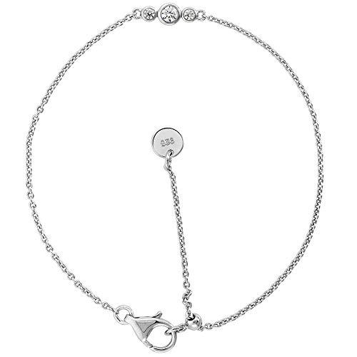 Cute Little Sterling Silver Adjustable CZ Bracelet 3 Stones Bezel Set Rhodium Sliding Bead Clasp, 7-8 inch