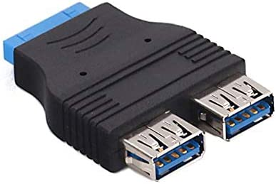 Cables Mini 2-Port USB 3.0 A Super Speed Female to 20 PIN Adapter Black EM88 Cable Length: Other