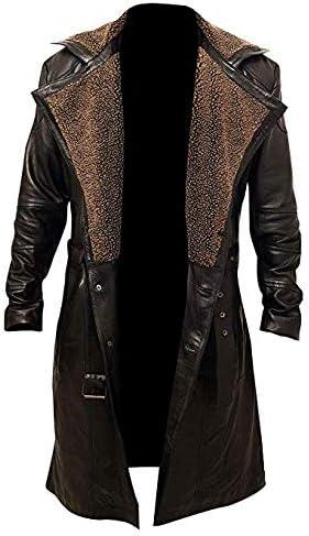 Black Leather Trench Coat Women/'s Genuine Lambskin Winter Long Overcoat Jacket