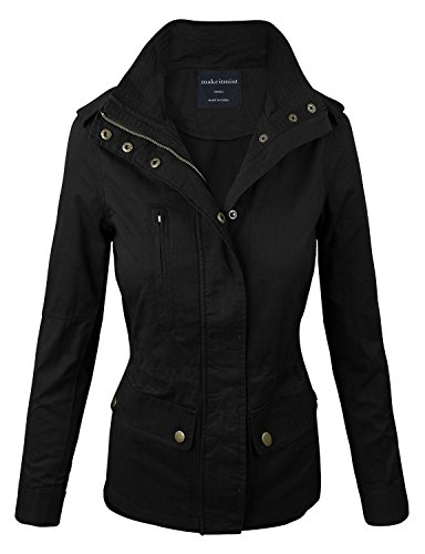 (makeitmint Women's Zip Up Military Anorak Jacket w/ Pockets Small YJZ0005_BLACK)
