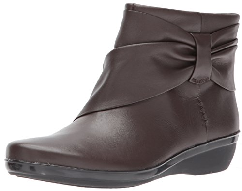 Clarks Women's Everlay Mandy Ankle Bootie, Dark Brown Leather, 6 M US
