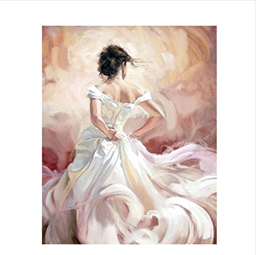 CZYYOU DIY Digital Malen Nach Zahlen Weiß Garn Weibliche Weibliche Weibliche Ölgemälde Wandbild Kits Färbung Wandkunst Bild Geschenk - Mit Rahmen - 50x60cm B07PNJN8GZ | Schön In Der Farbe  75cfb0