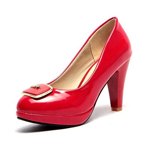 Allhqfashion Donna Tacco Alto In Vernice Solido Pull-on Tacco Chiuso Pompe-scarpe Rosse
