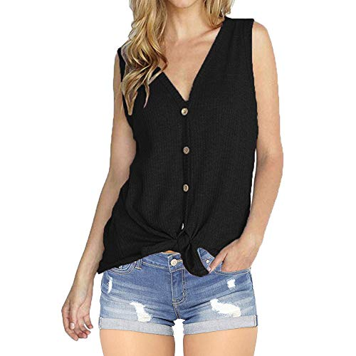 - INWECH Women Casual Black Sleeveless V Neck Button Down Tunic Tank Tie Front Top Blouse Summer Knit T Shirts (Black 2, XX-Large)