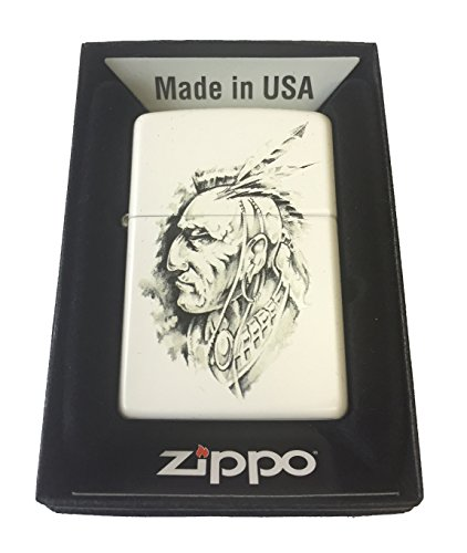 Zippo Custom Lighter - Native American Indian Chief Art Sketch White - Heritage American Hoodie