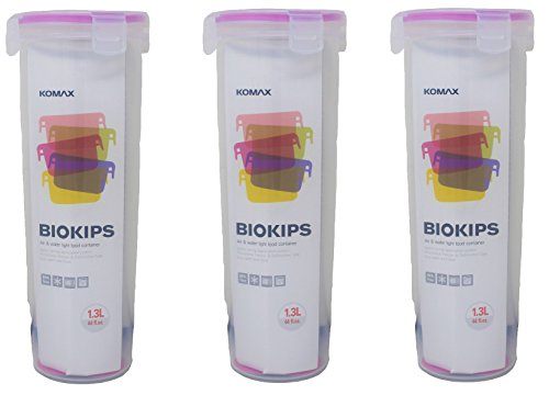 Komax Biokips Tall Food Storage Spaghetti Noodle / Pasta Container 44oz. (set of 3) - Airtight, Leakproof With Locking Lids - BPA Free Plastic - Microwave, Freezer and Dishwasher Safe
